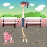 Gang met hond Royalty-vrije Stock Afbeelding