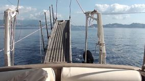 Gang plank aboard yacht. Gang plank, on the go aboard yacht stock video footage