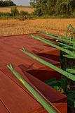 Gang plows ready for plowing. ROLLAG, MINNESOTA, Sept 1. 2017: A  John Deere gang plow levers  and platform are ready for demonstrations at the annual WCSTR farm Royalty Free Stock Photos
