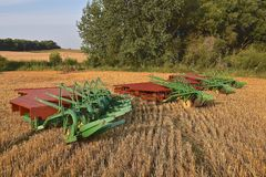 Gang plows ready for plowing. ROLLAG, MINNESOTA, Sept 1. 2017: Three John Deere gang plows and platforms are ready for demonstrations at the annual WCSTR farm stock photos