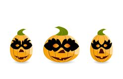 Gang of pumpkins dressed in masks Royalty Free Stock Photography