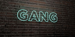 GANG -Realistic Neon Sign on Brick Wall background - 3D rendered royalty free stock image. Can be used for online banner ads and direct mailers Royalty Free Stock Image