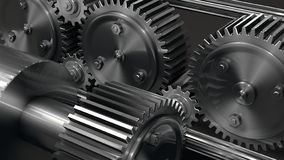 Gang und Zahn industriell mit silbernem Metall lizenzfreie stockbilder