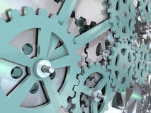 Gang- und Zahnradmaschinenbauhintergrund Illustration des Mechanismus 3D Stockfoto