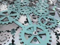 Gang- und Zahnradmaschinenbauhintergrund Illustration des Mechanismus 3D Stockbilder