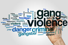 Gang violence word cloud. Concept on grey background Stock Images