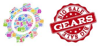 Gang-Zusammensetzung des Mosaiks und verkratzte Dichtung für Verkäufe lizenzfreie abbildung