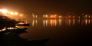 Ganga. Night on the river Ganges, a landscape, a city of Varanasi, India Stock Image