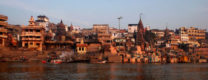 Ganga. Type from the river Ganges on coastal buildings, India, Varanasi Royalty Free Stock Image