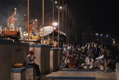 Ganga Aarti,瓦腊纳西 免版税库存图片