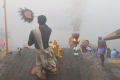 Ganga Aarti à Varanasi Images libres de droits