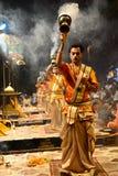 Ganga Aarti на Варанаси Стоковая Фотография