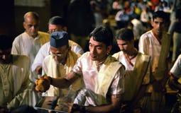 Ganga Aarti ceremonia w Varanasi Fotografia Royalty Free
