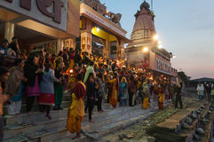 Ganga Aarti ceremony in Parmarth Niketan ashram at sunset Royalty Free Stock Image