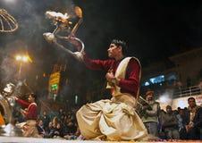 Ganga Aarti ceremony in Varanasi Stock Photos