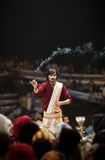 Ganga Aarti ceremony in Varanasi Royalty Free Stock Photos