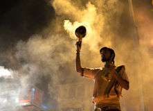 Ganga Aarti Ceremony in Varanasi. Is a Hindu religious ritual of worship. It is held in Dasaswamedh Ghat every evening Stock Image