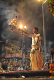 Ganga Aarti Ceremony in Varanasi Stock Photos
