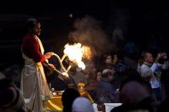 Ganga Aarti ceremony in Varanasi, India Royalty Free Stock Photo
