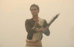 Ganga Aarti en Varanasi Imágenes de archivo libres de regalías