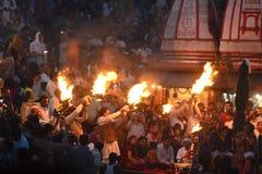 Ganga Aarti på haridwar Fotografering för Bildbyråer