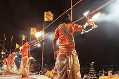 Ganga Aarti ritual. VARANASI, INDIA - APRIL 11: An unidentified Hindu priest performs religious Ganga Aarti ritual (fire puja) at Dashashwamedh Ghat on April 11 Royalty Free Stock Photo