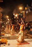 Ganga Aarti ritual. VARANASI, INDIA - APRIL 11: An unidentified Hindu priest performs religious Ganga Aarti ritual (fire puja) at Dashashwamedh Ghat on April 11 Stock Photos