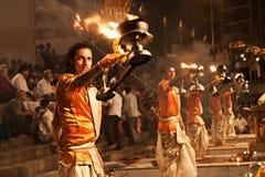 Ganga Aarti ritual. VARANASI, INDIA - APRIL 11: An unidentified Hindu priest performs religious Ganga Aarti ritual (fire puja) at Dashashwamedh Ghat on April 11 Stock Photo