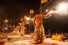 Ganga Aarti ritual Stock Photography