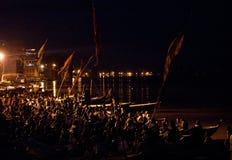 Ganga Aarti ritual in Varanasi Stock Photography