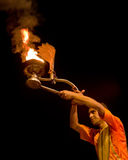 Ganga Aarti ritual in Varanasi. Royalty Free Stock Images