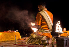 Ganga Aarti ritual in Varanasi. Royalty Free Stock Photos