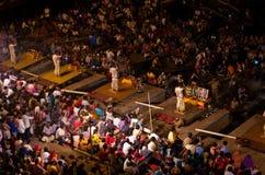 Ganga Aarti ritual in Varanasi. Stock Photos