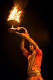 Ganga Aarti ritual in Varanasi. Royalty Free Stock Photography