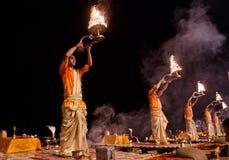 Ganga Aarti ritual in Varanasi. Stock Image