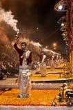 Ganga Aarti at Varanasi. VARANASI, INDIA - FEBRUARY 18: Unidentified Hindu priests perform religious Ganga Aarti ritual on Maha Shivaratri festival on February Royalty Free Stock Photography