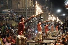 Ganga Aarti Varanasi, India fotos de stock