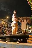 Ganga Aarti Zeremonie in Varanasi Stockbild