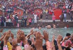 Ganga Aati bei Haridwar, Indien stockbild