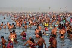Ganga dussehra festival celebration in Allahabad. Allahabad: Hindu devotee taking holydip in River Ganges, during the Ganga Dussehra festival in Allahabad on 28 Stock Photos