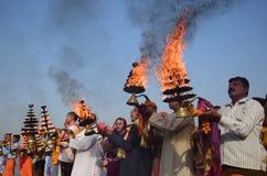 Ganga dussehra festiwalu świętowanie w Allahabad Zdjęcie Royalty Free