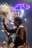 Ganga Maha Aarti Ceremony en Dasashvamedh Ghat en Varanasi, Indi Fotografía de archivo