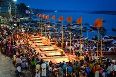 Ganga Maha Aarti ceremony fire puja. Varanasi, India - Jul 12, 2015.  Indian Brahmins conducts religious Ganga Maha Aarti ceremony fire puja at Dashashwamedh Stock Photography
