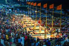 Ganga Maha Aarti ceremony fire puja. Varanasi, India - Jul 12, 2015.  Indian Brahmins conducts religious Ganga Maha Aarti ceremony fire puja at Dashashwamedh Stock Photo