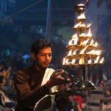 Ganga Maha Aarti Ceremony in Varanasi, India Stock Image