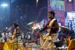 Ganga Maha Aarti Ceremony in Varanasi, India Stock Photography