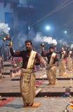 Ganga Maha Aarti Ceremony in Varanasi, India Royalty Free Stock Photos
