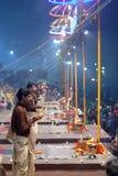 Ganga Maha Aarti Ceremony in Varanasi, India Royalty Free Stock Images