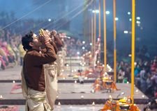 Ganga Maha Aarti Ceremony in Varanasi, India Stock Images