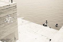 Ganga rive σε Benares Ινδία Στοκ Φωτογραφίες